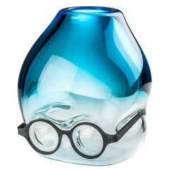 Venini 'Where Are My Glasses?' Glass Vase in Aquamarine & Crystal by Ron Arad