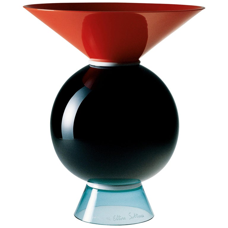 Venini Yemen Geometric Glass Vase in Multi-Color by Ettore Sottsass For Sale
