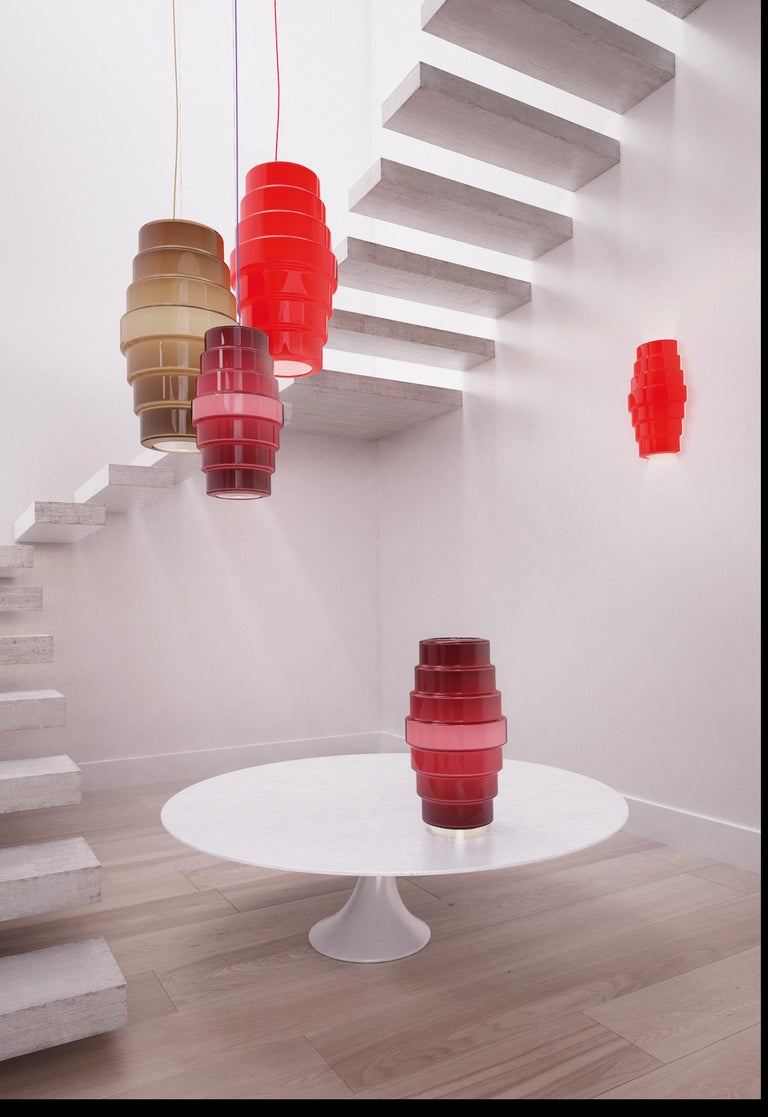 Italian Venini Zoe Large Pendant Light in Violet by Doriana and Massimiliano Fuksas For Sale