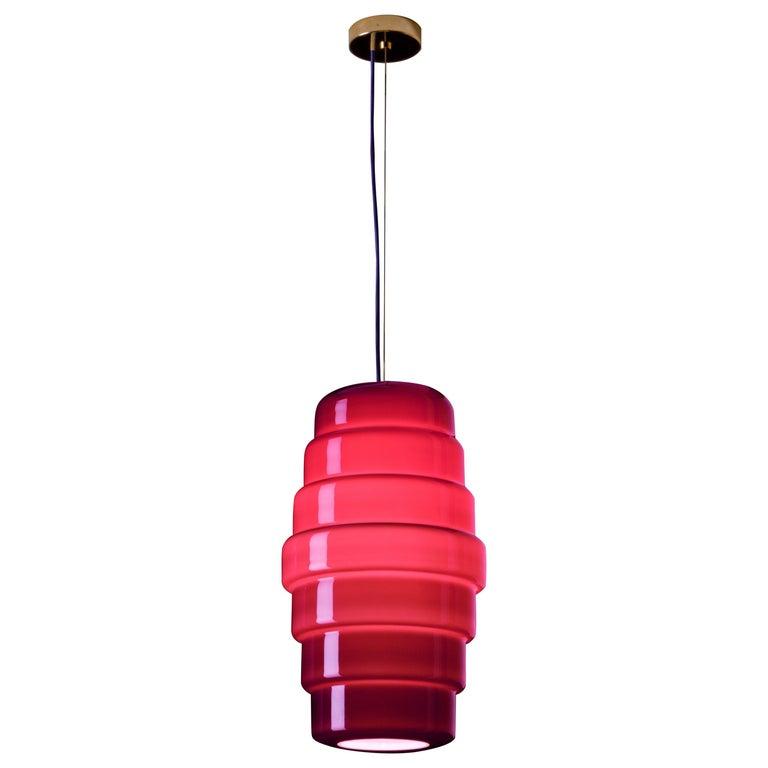 Venini Zoe Large Pendant Light in Violet by Doriana and Massimiliano Fuksas For Sale