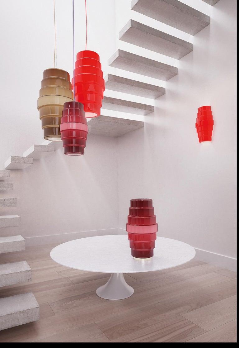 Modern Venini Zoe Wall Sconce in Red by Doriana & Massimiliano Fuksas For Sale