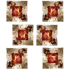 Venini, Set of Six Amber Murano Glass Patchwork Sconces or Ceiling Lights