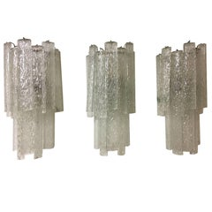 "Venini, ""Tronchi"" Murano Glass Super Set of Three Elegant Sconces"