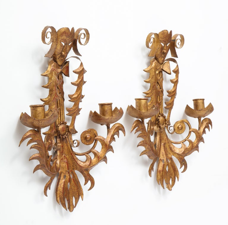Venise Carnival Themed Unusual Sconces, France, 1960s For Sale 3