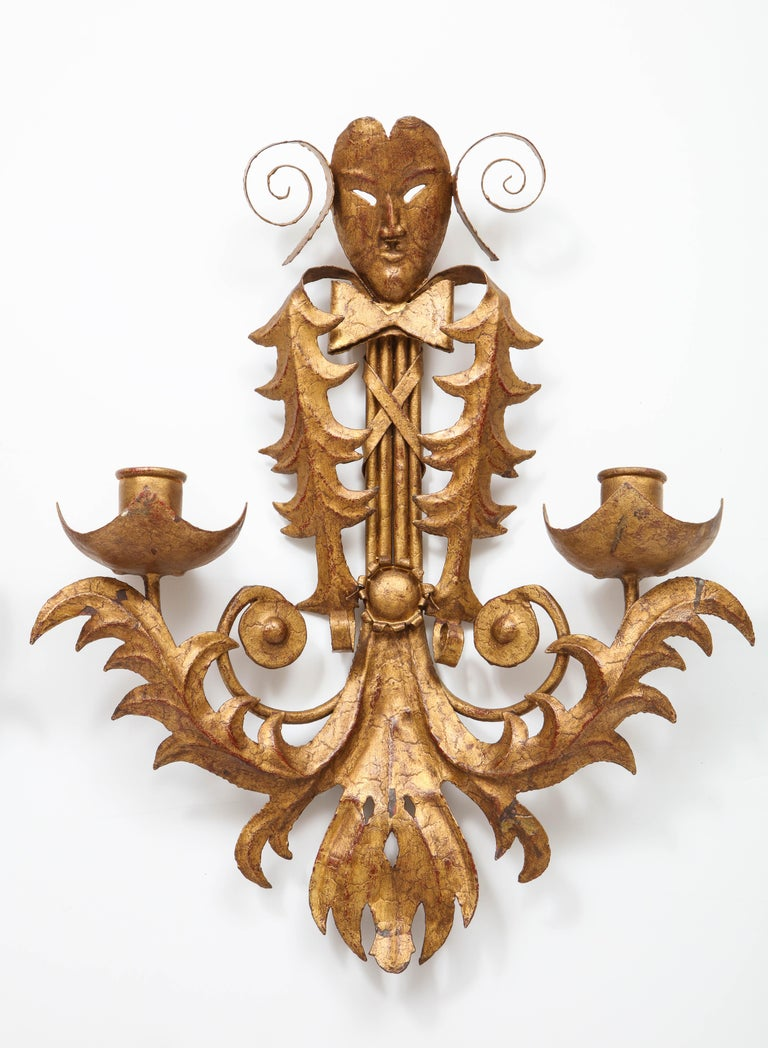 Venise Carnival Themed Unusual Sconces, France, 1960s In Fair Condition For Sale In New York, NY