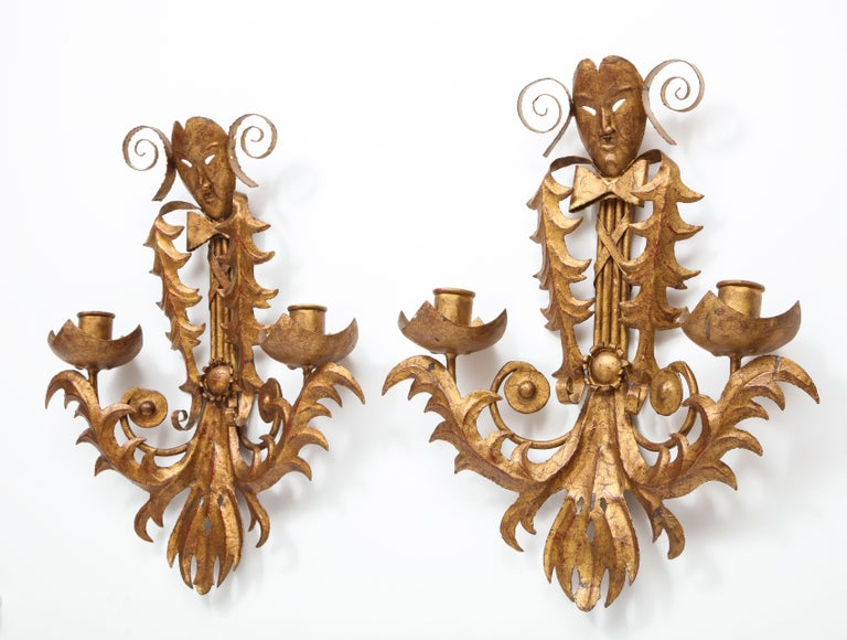 Venise Carnival Themed Unusual Sconces, France, 1960s For Sale 1