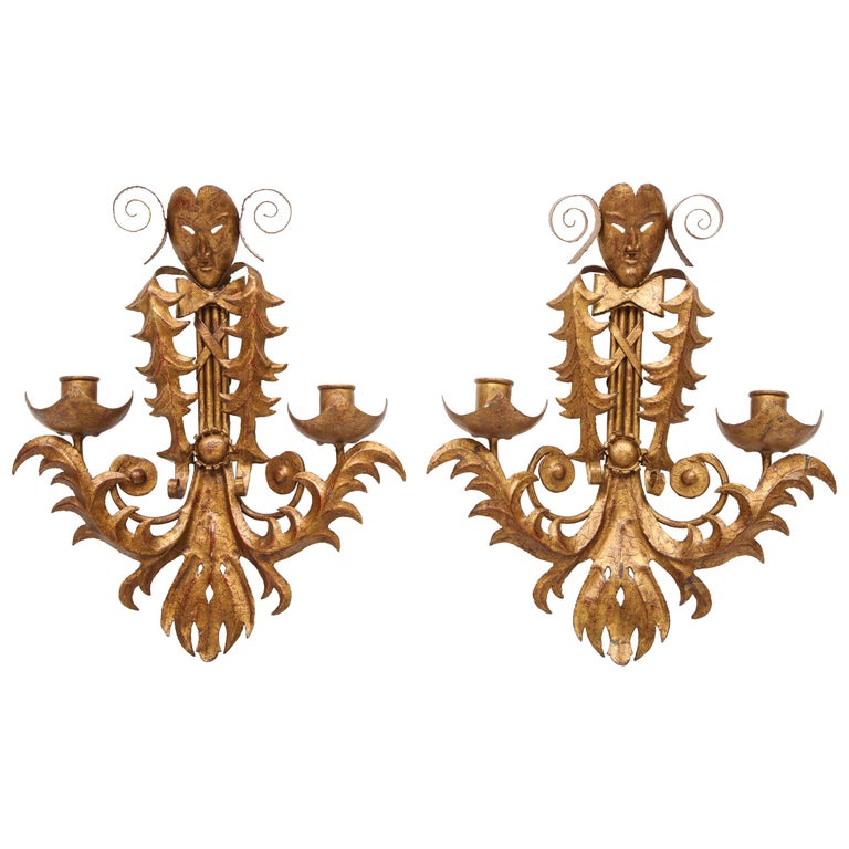 Venise Carnival Themed Unusual Sconces, France, 1960s For Sale