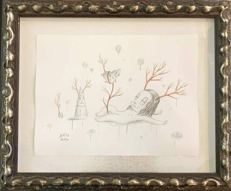 """Unique drawing by American pop artist Gary Baseman, with framing handpicked by the artist. Price already includes the original exhibition frame and worldwide shipping.  """"I ran away this spring and hid in the woods. I ran so fast I did not look"""