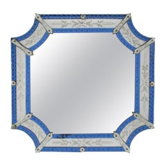 Venitian Style Octagonal Mirror with Blue Glass and Engraved Glass Borders
