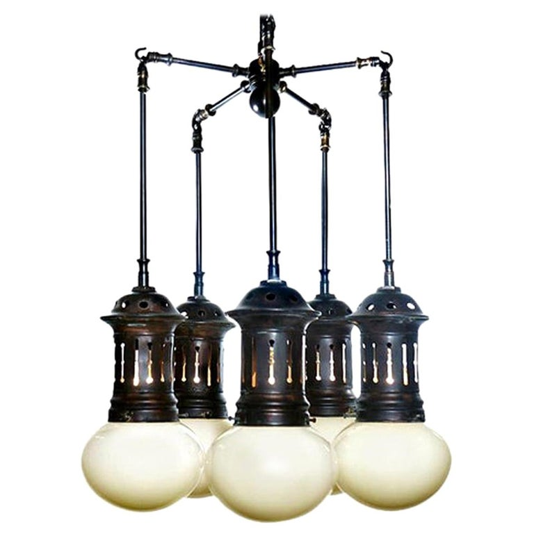 Vented Vaseline Glass Armory Chandelier For Sale