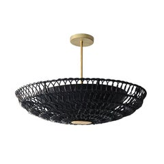 "24"" Pendant Light in Handwoven Black Rattan, Ventila Collection"