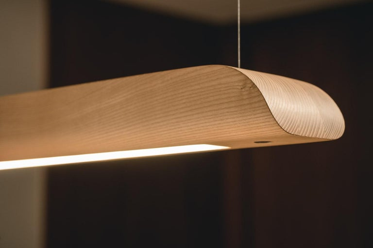 Hardwood Vento Pendant Light by Marcos Amato, Exotic Solidwood, Zebrawood,Limited Edition For Sale