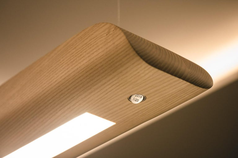 Vento Pendant Light by Marcos Amato, Exotic Solidwood, Zebrawood,Limited Edition For Sale 2