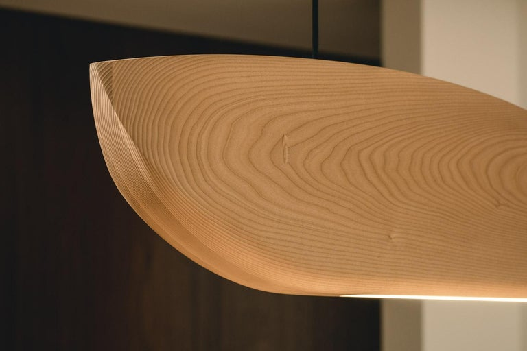 Contemporary Vento Pendant Light by Marcos Amato, Exotic Solidwood, Zebrawood,Limited Edition For Sale
