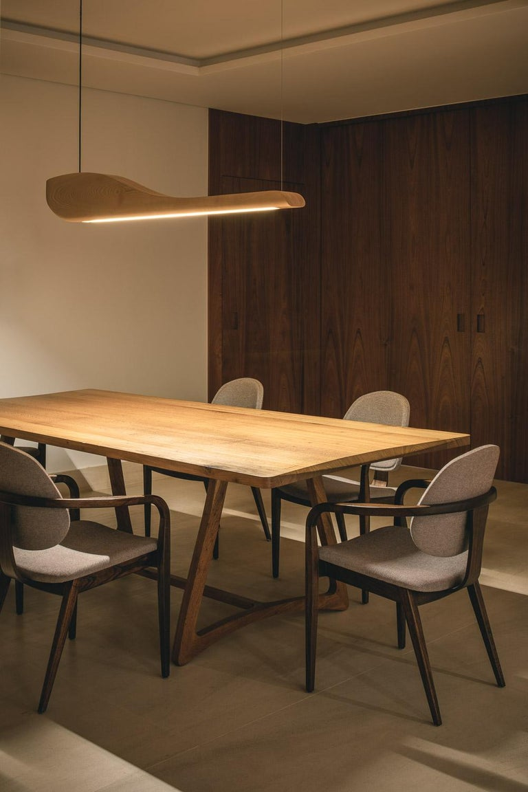 Vento Pendant Light by Marcos Amato, Exotic Solidwood, Zebrawood,Limited Edition In New Condition For Sale In Atibaia, Sao Paulo