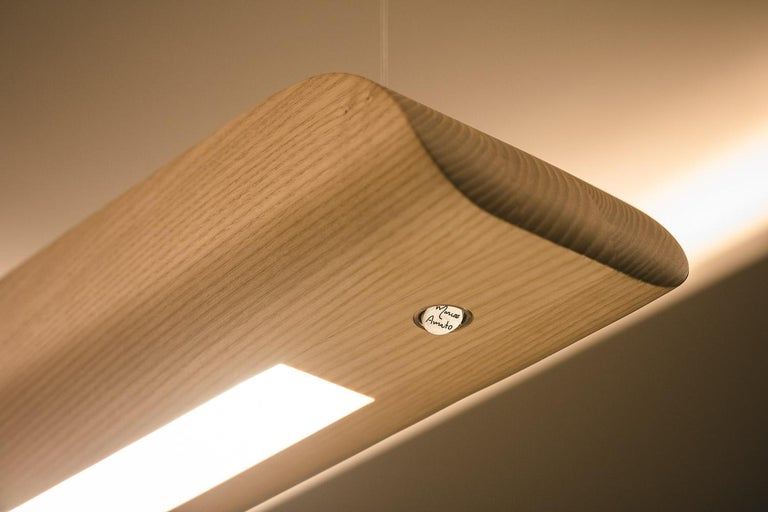 Vento Pendant Light by Marcos Amato, Exotic Solidwood, Zebrawood,Limited Edition For Sale 1