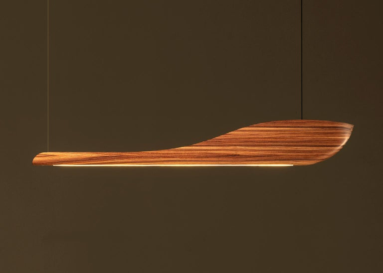 Modern Vento Pendant Light by Marcos Amato, Exotic Solidwood, Zebrawood,Limited Edition For Sale