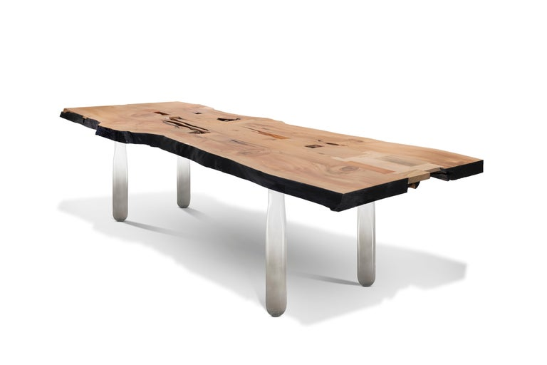Hand-Crafted Vento Table in Recovery Cedar Wood and Hand Blown Glass For Sale