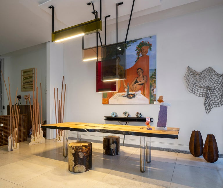 Vento Table in Recovery Cedar Wood and Hand Blown Glass In New Condition For Sale In Torino, IT