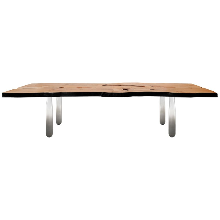 Vento Table in Recovery Cedar Wood and Hand Blown Glass For Sale