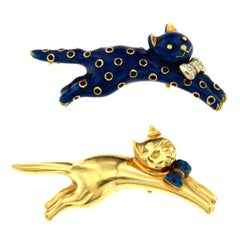 Ventrella Napoli Couple Cats Enamel Diamond Brooch
