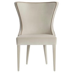 Ventura Dining Chair with Upholstered Legs and Contrasting Piping