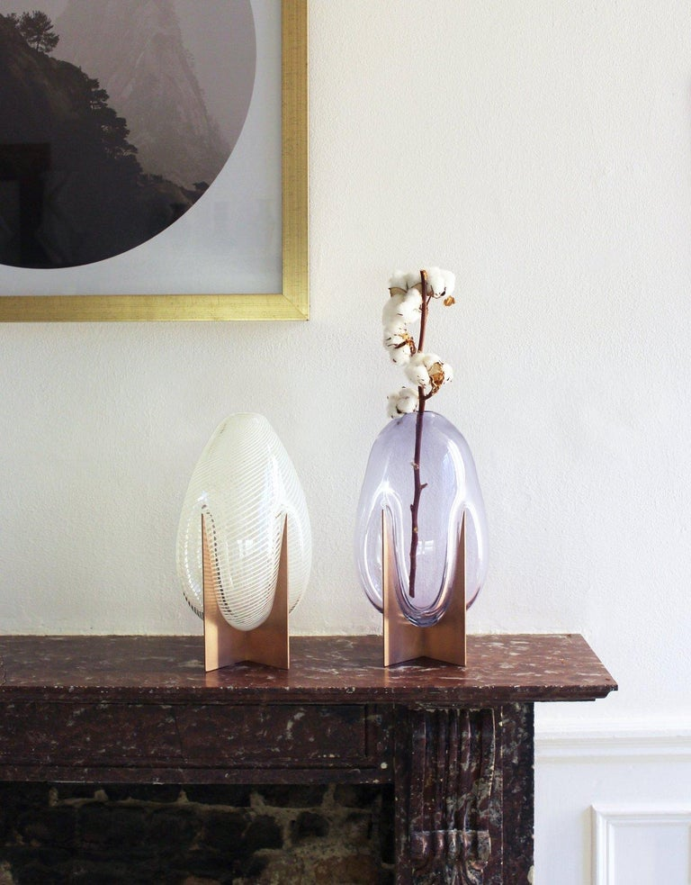 Venturi Pear White Vase, Murano Glass and Metal by Lara Bohinc, In Stock For Sale 3