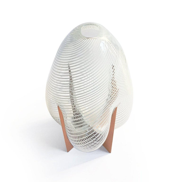 Venturi Pear White Vase, Murano Glass and Metal by Lara Bohinc, in Stock In New Condition For Sale In London, GB