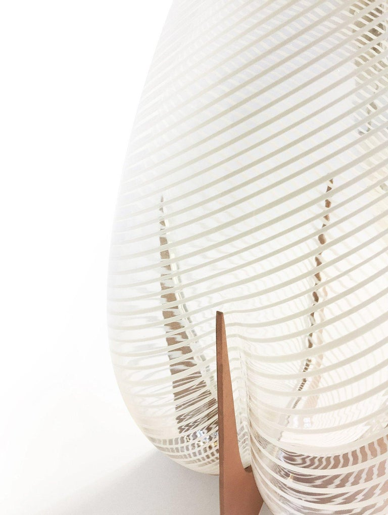 Blown Glass Venturi Pear White Vase, Murano Glass and Metal by Lara Bohinc, in Stock For Sale