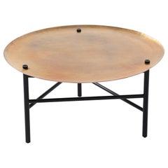 Venus Auxiliar Table, Black Oak Hand Hammered Copper Brass Finish Top
