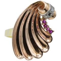 Rose Yellow Gold Shell Ring Rubies Diamonds Baroque Revival Venus