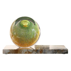 'Venus Eye' Mouth-Blown Glass Vase on Marble in Bright Green and Yellow