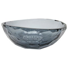 Venus Faceted Murano Grey Glass Bowl