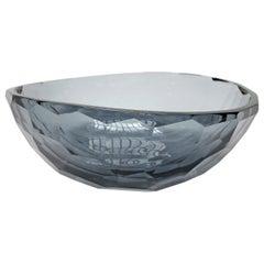 Venus Faceted Murano Grey Glass Bowl