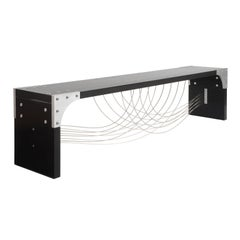 Modern Industrial Bench with Metal Cables and Black Wood