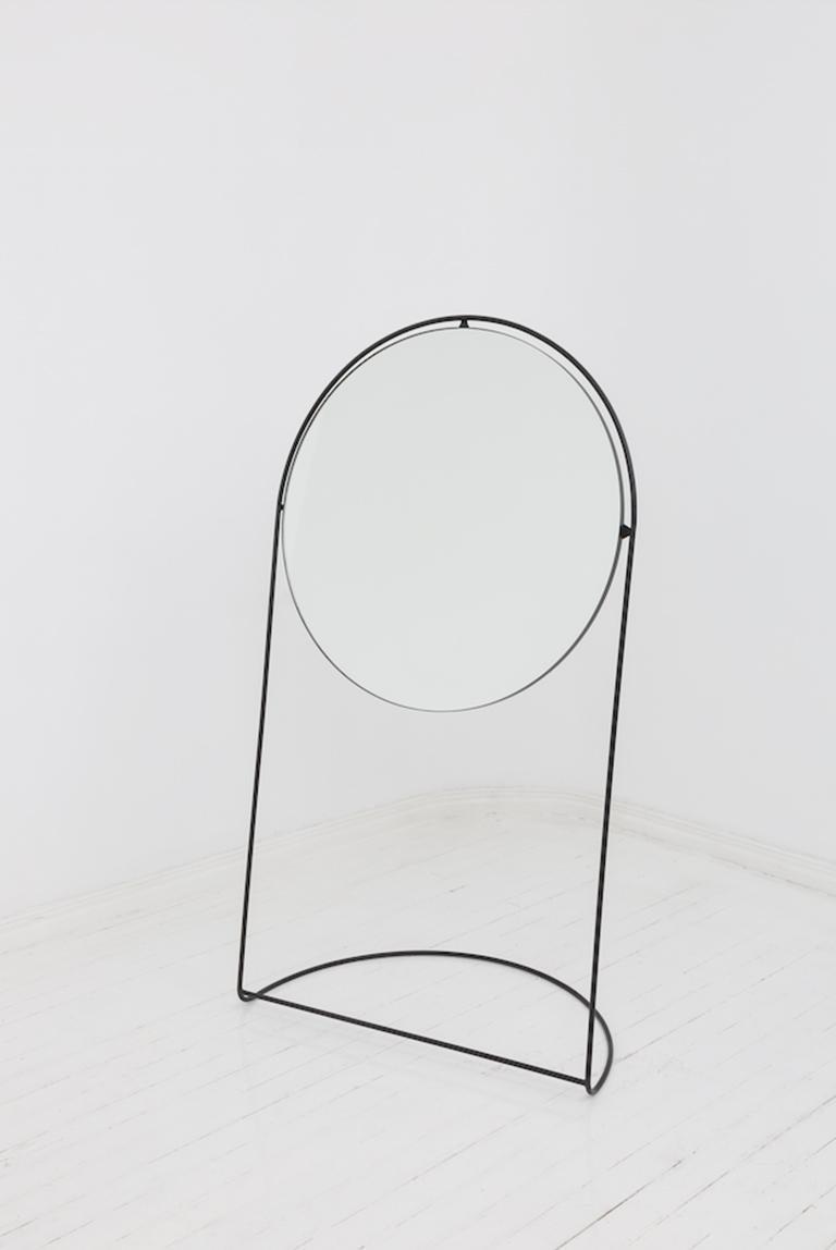 Contemporary Steel Floor Mirror