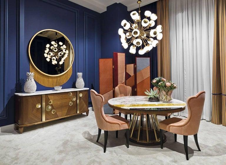 Mid-Century Modern Venus Mirror, Mirror in Gold Leaf Frame and Decorative Fringe For Sale
