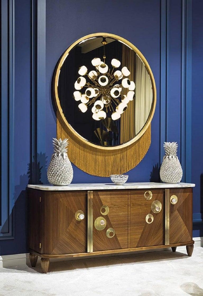 Italian Venus Mirror, Mirror in Gold Leaf Frame and Decorative Fringe For Sale