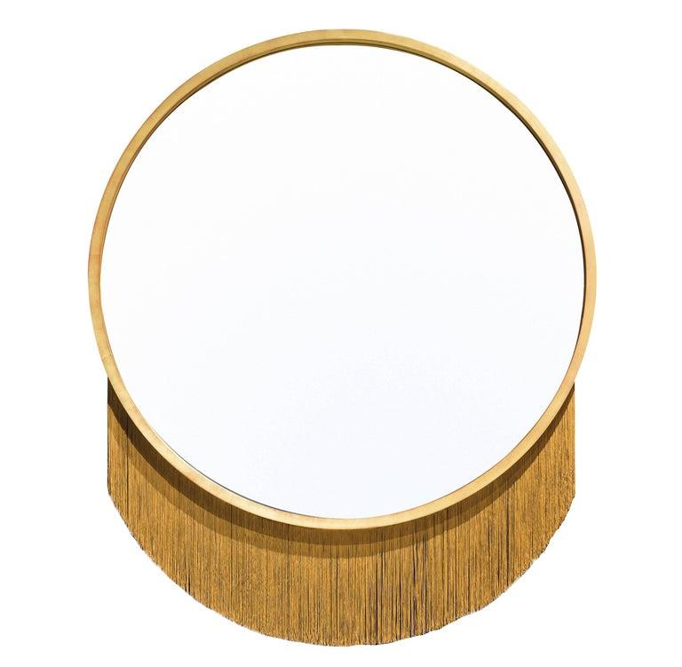 Venus Mirror, Mirror in Gold Leaf Frame and Decorative Fringe For Sale