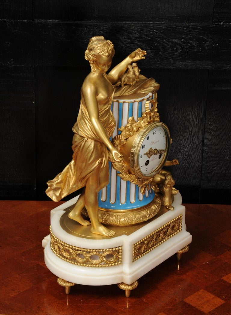 Venus, Putto and a Dog, Antique French Sèvres Porcelain and Ormolu Clock 5