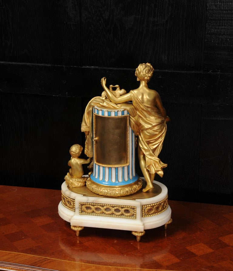 Venus, Putto and a Dog, Antique French Sèvres Porcelain and Ormolu Clock 9