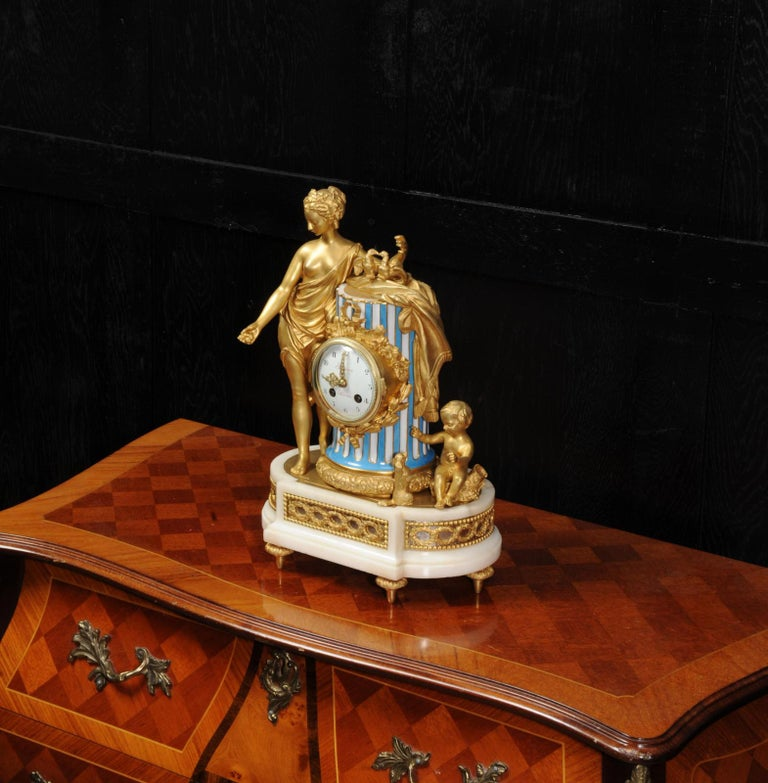 Venus, Putto and a Dog, Antique French Sèvres Porcelain and Ormolu Clock 3