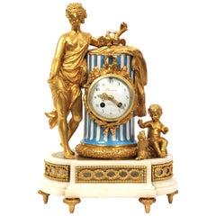 Venus, Putto and a Dog, Antique French Sèvres Porcelain and Ormolu Clock