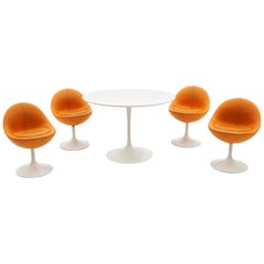 'Venus' Tulip Base Dining / Kitchen Set by Borge Johansen, Sweden, 1960s, White