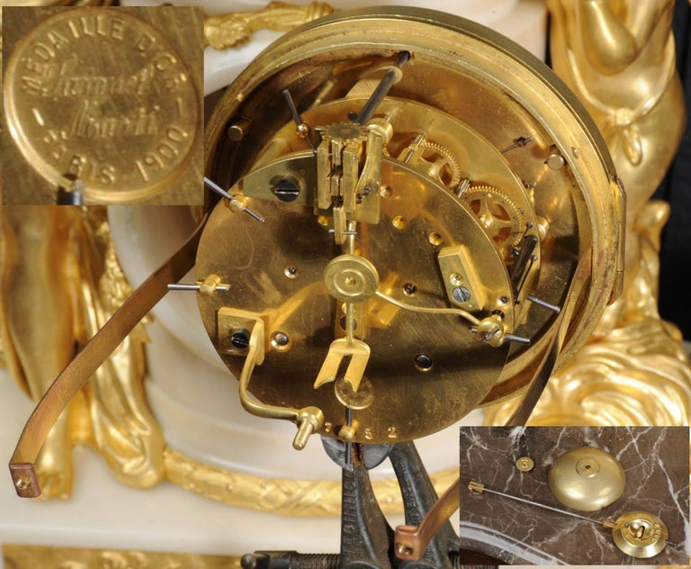 Venus with Amour and Dog, Superb Ormolu and White Mable Clock Set, circa 1900 For Sale 1