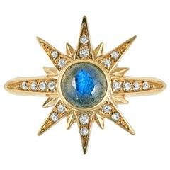 Venyx 18 Karat Gold Diamond Labradorite Solis Pinky Ring