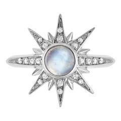 Venyx 18 Karat Gold Diamond Moonstone Solis Pinky Ring