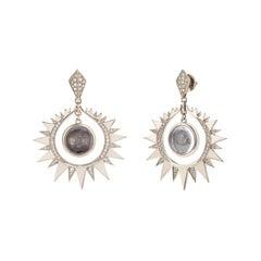 Venyx 18 Karat Gold, Diamond, Rock Crystal Aruna Sun Earrings