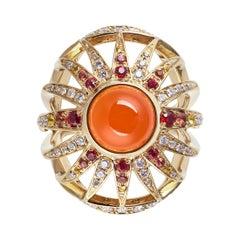 Venyx 18 Karat Gold Diamond Sapphire Carnelian Aruna Ring
