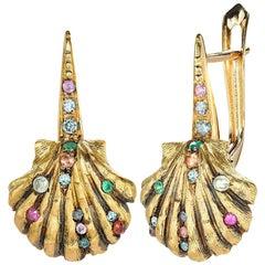 Venyx 18 Karat Gold Diamond Sapphire Colored Stone Rainbow Lady V Earrings